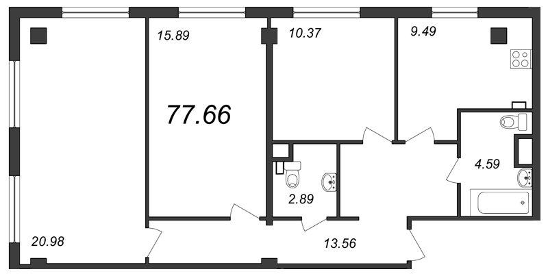 Планировка Трёхкомнатная квартира площадью 77.66 кв.м в ЖК «Парнас»