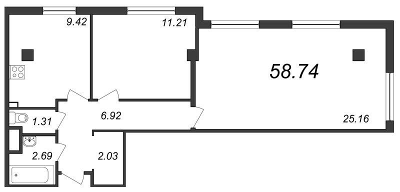 Планировка Двухкомнатная квартира площадью 58.74 кв.м в ЖК «Парнас»