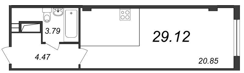 Планировка Студия площадью 29.12 кв.м в ЖК «Парнас»