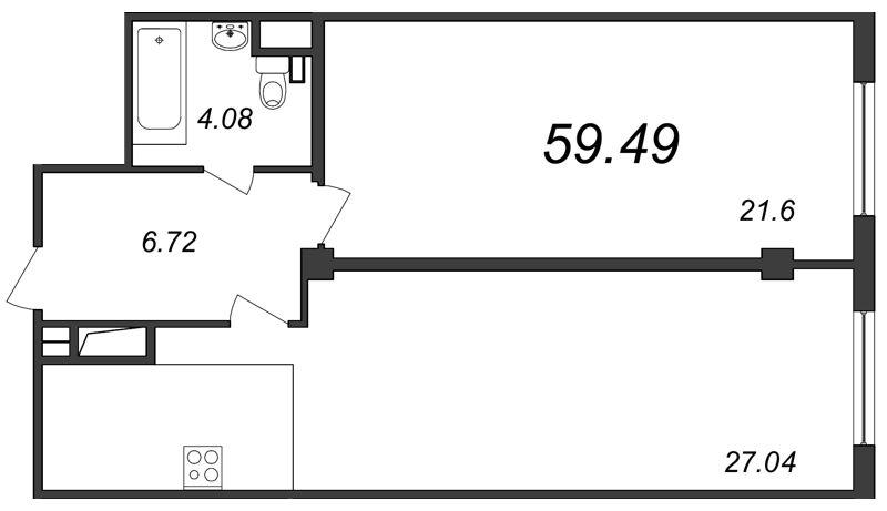 Планировка Двухкомнатная квартира (Евро) площадью 59.49 кв.м в ЖК «Парнас»