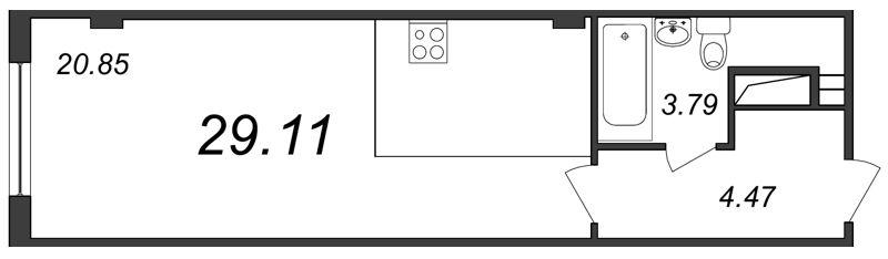 Планировка Студия площадью 29.11 кв.м в ЖК «Парнас»