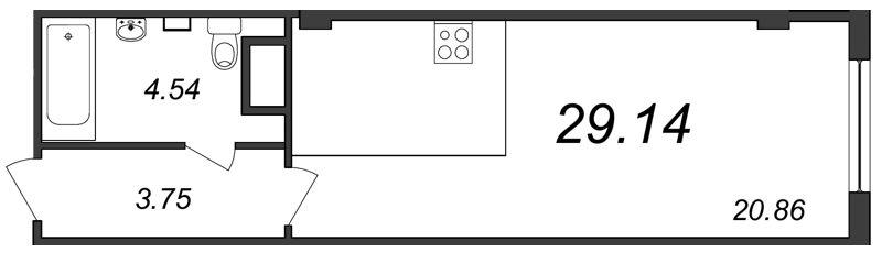 Планировка Студия площадью 29.14 кв.м в ЖК «Парнас»