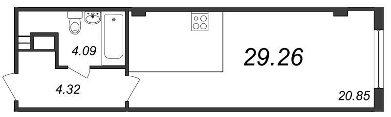 Планировка Студия площадью 29.26 кв.м в ЖК «Парнас»