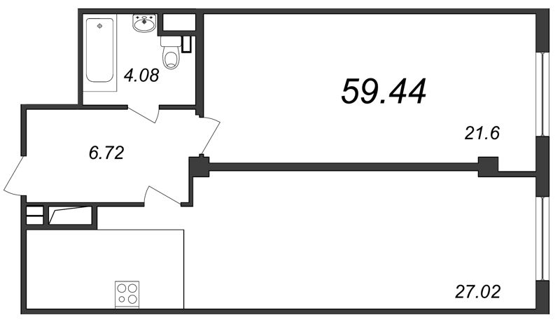 Планировка Двухкомнатная квартира (Евро) площадью 59.44 кв.м в ЖК «Парнас»