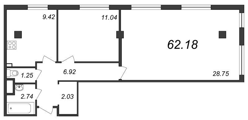 Планировка Двухкомнатная квартира площадью 62.18 кв.м в ЖК «Парнас»